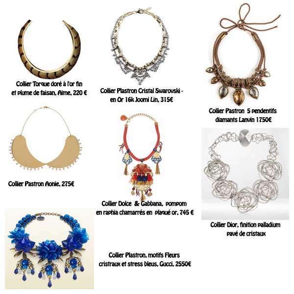 Colliers Plastron Gucci, Dior, Aime, Joomi Lin, Lanvin, Aonie, Dolce& Gabbana